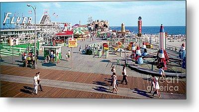 Hunts Pier In The 1960's, Wildwood Nj Sixties Panorama Photograph. Copyright Aladdin Color Inc. Metal Print