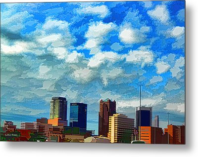 Huntsville Alabama Skyline Abstract Art Metal Print
