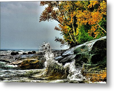 Hurricane Shoreline Metal Print by Matthew Winn