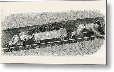 Hurriers In A Lancashire Coal Pit. A Metal Print by Vintage Design Pics
