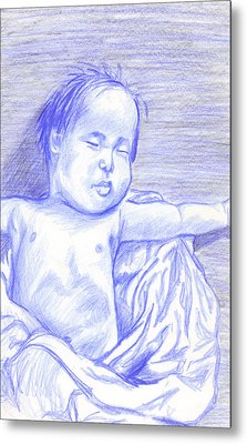 Metal Print featuring the drawing Hush Little Baby by Jean Haynes