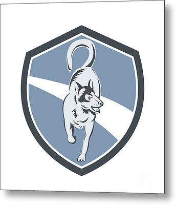 Husky Dog Crest Retro Metal Print by Aloysius Patrimonio