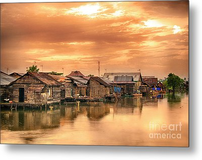 Metal Print featuring the photograph Huts On Water by Charuhas Images
