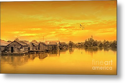 Metal Print featuring the photograph Huts Yellow by Charuhas Images
