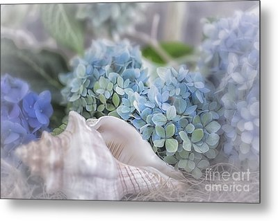 Hydrangeas By The Sea Metal Print by Mary Lou Chmura