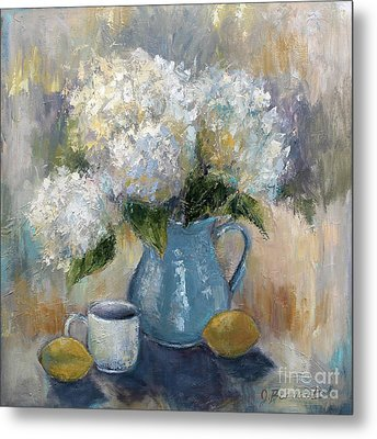 Metal Print featuring the painting Hydrangea Morning by Jennifer Beaudet