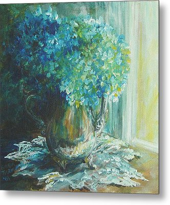 Metal Print featuring the painting Hydrangea Sold by Gloria Turner