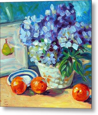 Hydrangeas And Oranges Metal Print by Debbie Miller