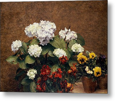 Hydrangeas And Wallflowers And Two Pots Of Pansies Metal Print by Henri Jean Fantin-Latour