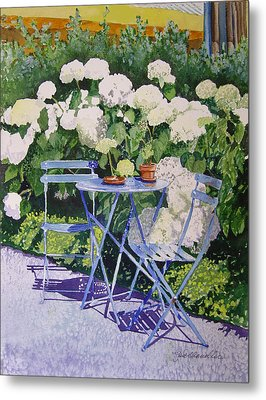 Metal Print featuring the painting Hydrangeas At Angele by Gail Chandler
