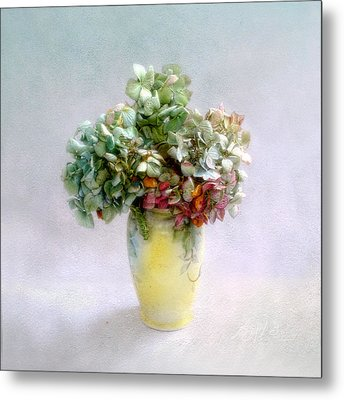 Metal Print featuring the photograph Hydrangeas In Autumn Still Life by Louise Kumpf