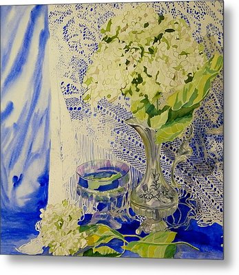 Hydrangia And Lace Metal Print by Terry Honstead