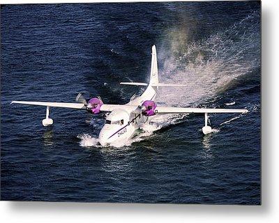 Hydroplane Splashdown Metal Print by Sally Weigand