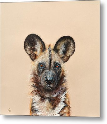 Metal Print featuring the drawing I Am A Wild Thing - African Painted Dog by Elena Kolotusha
