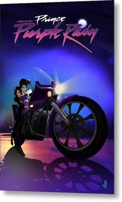 Metal Print featuring the digital art I Grew Up With Purplerain by Nelson dedos Garcia
