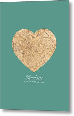 I Heart Charlotte North Carolina Vintage City Street Map Americana Series No 008 Metal Print