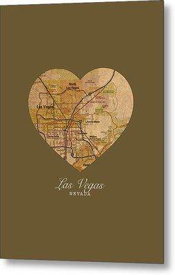 I Heart Las Vegas Nevada Vintage City Street Map Americana Series No 023 Metal Print