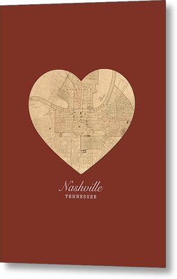 I Heart Nashville Tennessee Vintage City Street Map Americana Series No 010 Metal Print