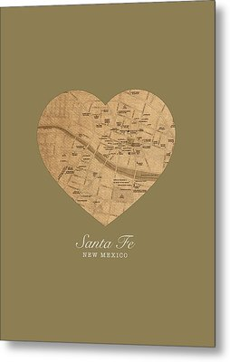 I Heart Santa Fe New Mexico Vintage City Street Map Americana Series No 027 Metal Print
