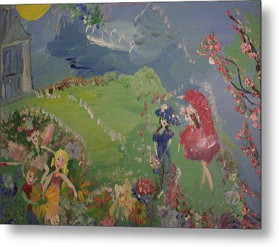 Metal Print featuring the painting I Hope Fairies Are Real by Judith Desrosiers