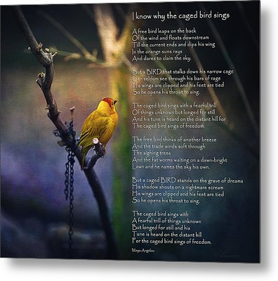 I Know Why The Caged Bird Sings By Maya Angelou Metal Print by Maria Angelica Maira