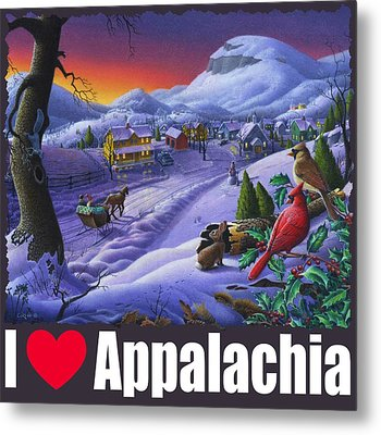 I Love Appalachia T Shirt - Small Town Winter Landscape 2 - Cardinals Metal Print by Walt Curlee