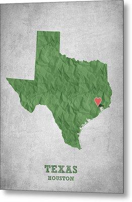 I Love Houston Texas - Green Metal Print by Aged Pixel