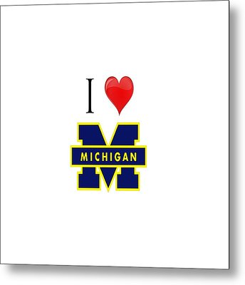 I Love Michigan Metal Print