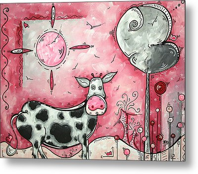 I Love Moo Original Madart Painting Metal Print by Megan Duncanson