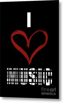I Love Music 3 Metal Print