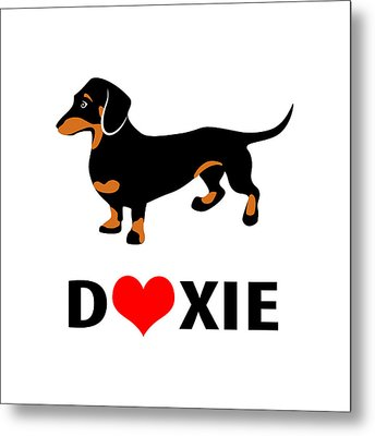 I Love My Doxie Metal Print