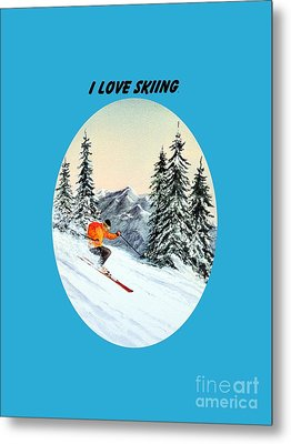 I Love Skiing  Metal Print by Bill Holkham