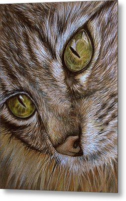 Metal Print featuring the drawing I See by Heidi Kriel