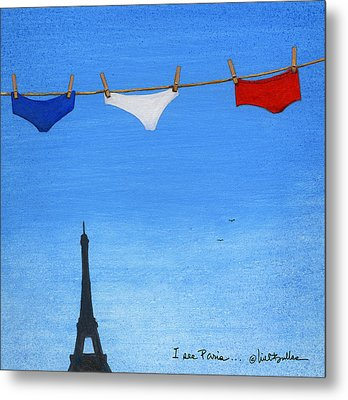 Metal Print featuring the painting I See Paris... by Will Bullas