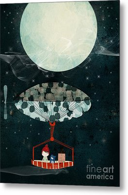 Metal Print featuring the painting I See The Moon Too by Bri B