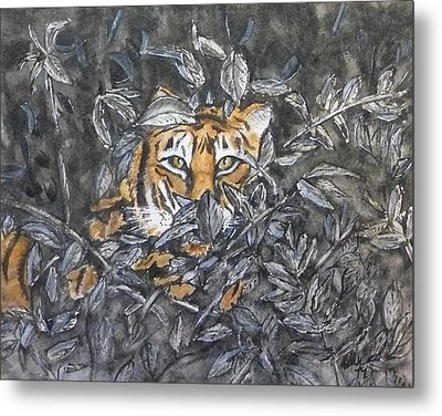 Metal Print featuring the painting I See You... Orange Tiger by Kelly Mills