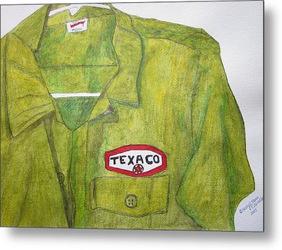 Metal Print featuring the painting I Worked At Texaco by Kathy Marrs Chandler