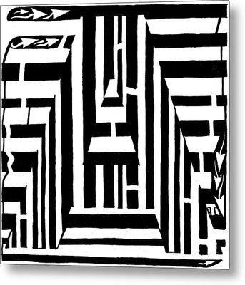 I Would Like To Maze A Vowel Metal Print by Yonatan Frimer Maze Artist