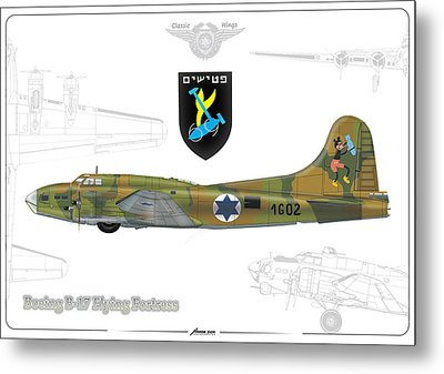 Metal Print featuring the drawing Iaf B-17 Flying Fortress by Amos Dor