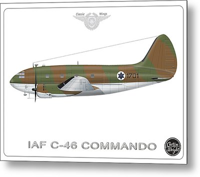 Metal Print featuring the digital art Iaf C-46 Commando by Amos Dor