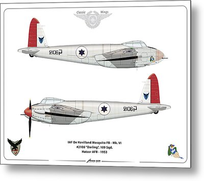 Metal Print featuring the digital art Iaf Mosquito IIi by Amos Dor
