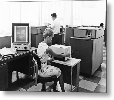 Ibm Microfiche Cards Metal Print by Underwood Archives