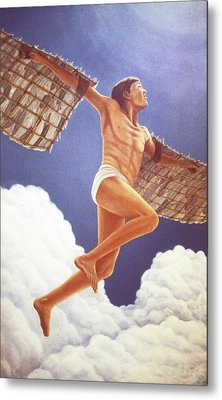 Metal Print featuring the painting Icarus Ascending by Laurie Stewart