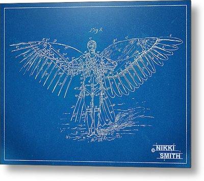 Icarus Flying Machine Patent Artwork Metal Print