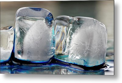 Metal Print featuring the photograph Ice And Blue by Rico Besserdich