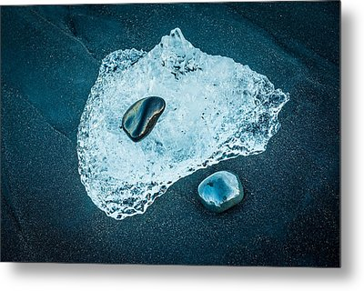 Ice And Stones - Iceland Black Beach Photograph Metal Print