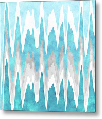 Metal Print featuring the mixed media Ice Blue Abstract by Christina Rollo