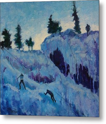 Ice Climbing Metal Print by Marion Corbin Mayer