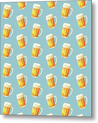 Ice Cold Beer Pattern Metal Print by Little Bunny Sunshine