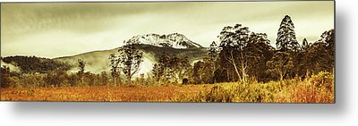 Ice Covered Mountain Panorama In Tasmania Metal Print